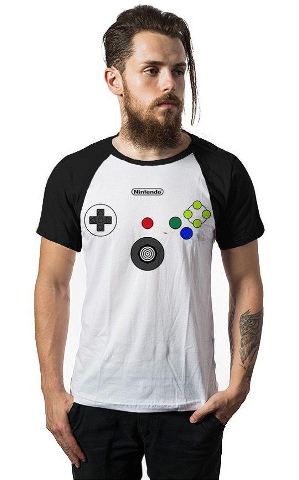 Camiseta Raglan Nintendo - Nerd e Geek - Presentes Criativos