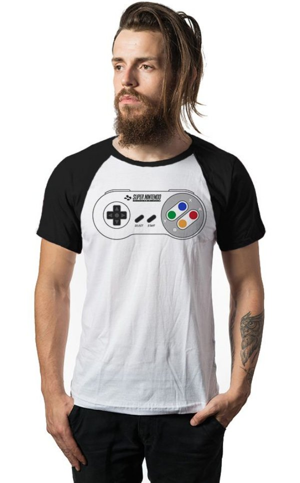 Camiseta Raglan Nintendo - Game - Nerd e Geek - Presentes Criativos