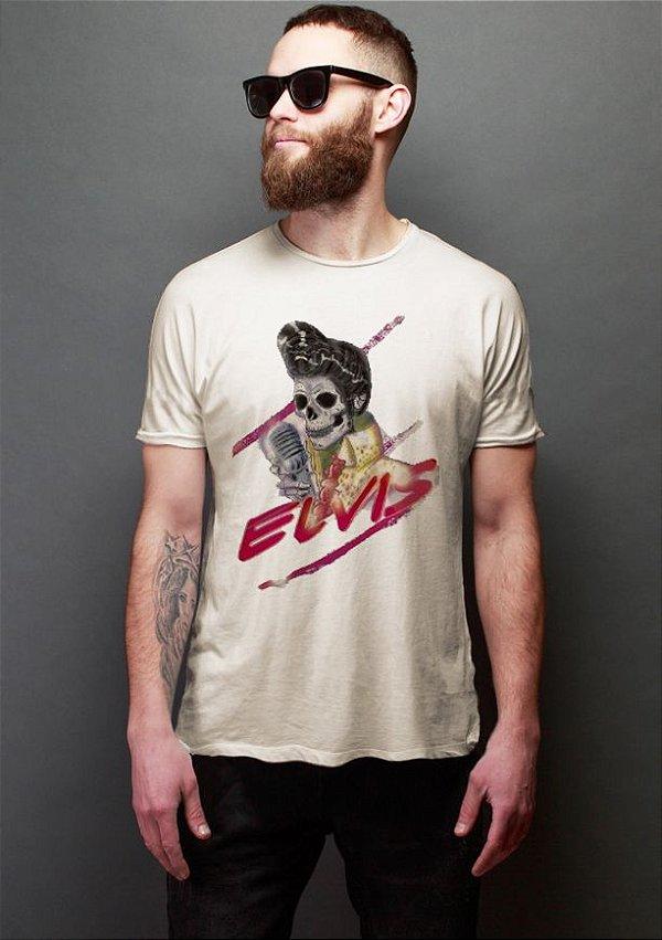 Camiseta Masculina  Skull Elvis - Nerd e Geek - Presentes Criativos