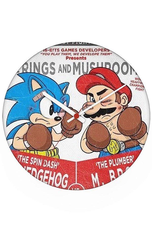Relógio de Parede Mario e Sonic