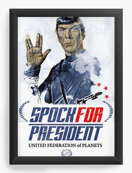 Quadro Decorativo A4 (33X24) Star Trek - Spock - Nerd e Geek - Presentes Criativos