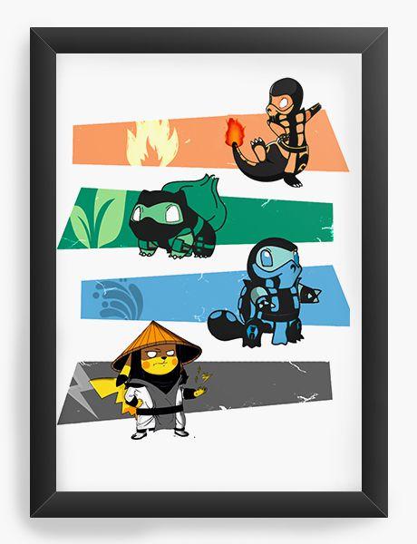 Quadro Decorativo A4 (33X24) Pokemon Kombat - Nerd e Geek - Presentes Criativos