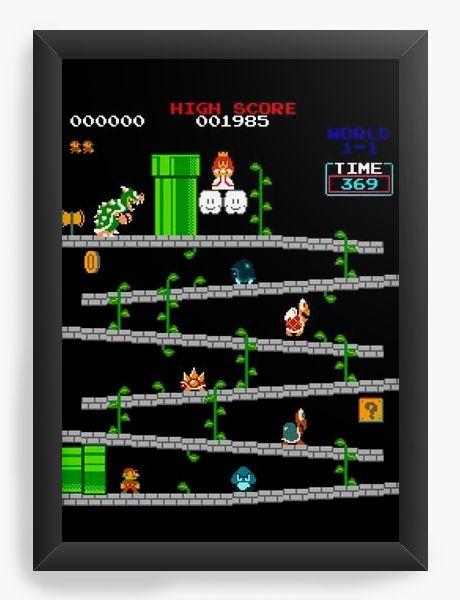 Quadro Decorativo Super Mario - Fase - Nerd e Geek - Presentes Criativos