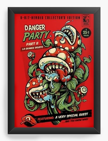 Quadro Decorativo Danger Party - Super Mario - Nerd e Geek - Presentes Criativos