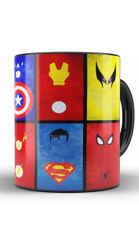 Caneca Homem Aranha, Superman, Homem de Ferro