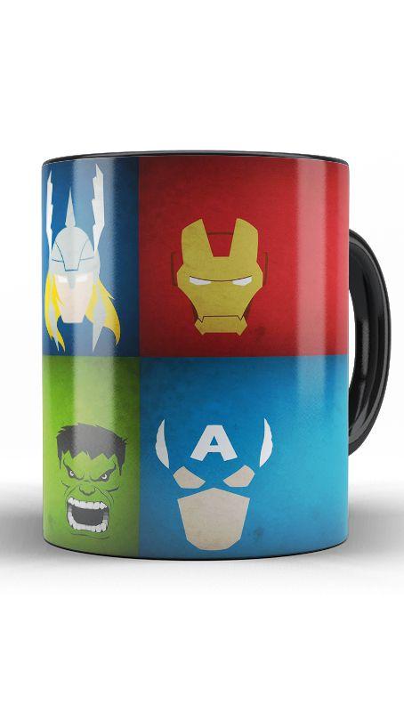 Caneca Thor, Capitão America, Hulk e Homem de Ferro
