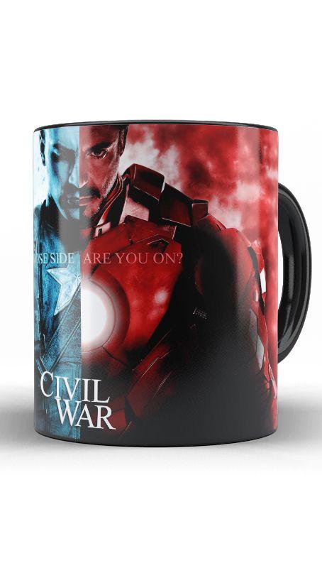 Caneca Capitão America e Homem de Ferro - Guerra Civil