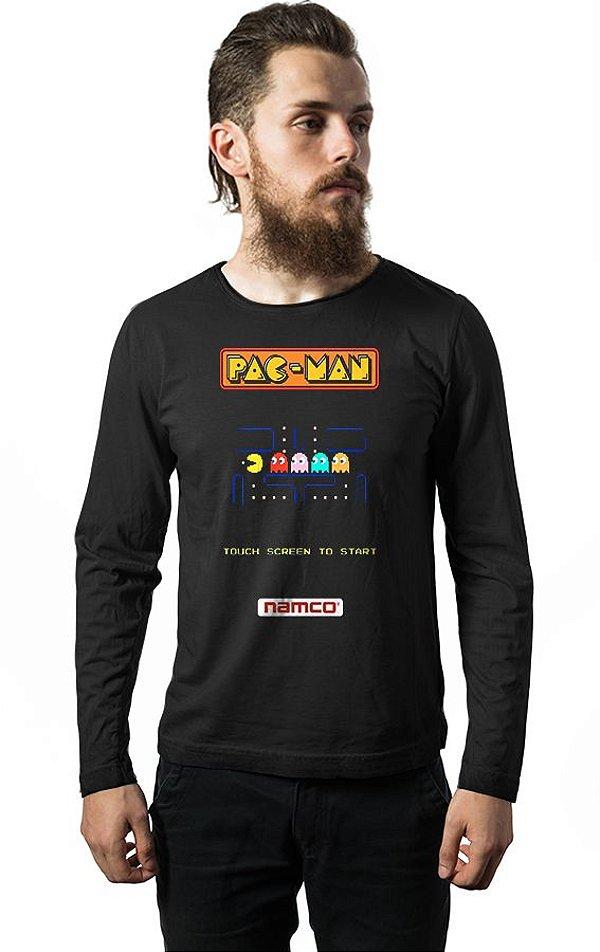 Camiseta Masculina  Manga Longa Pac-Man - Nerd e Geek - Presentes Criativos