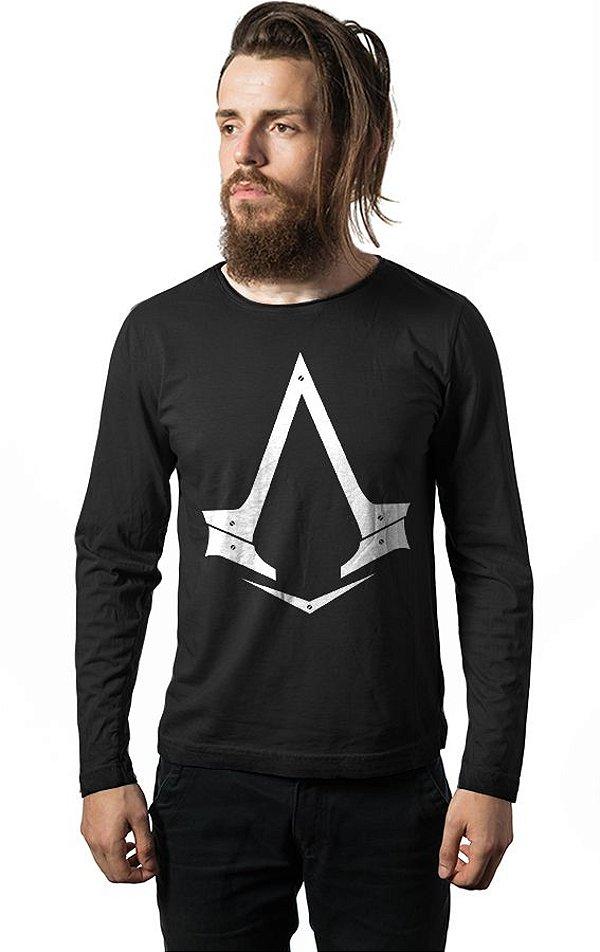 Camiseta Masculina  Manga Longa Assassin's Creed - Nerd e Geek - Presentes Criativos