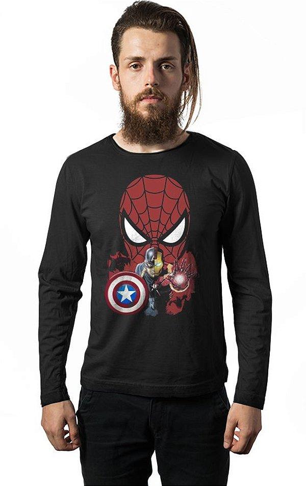 Camiseta Manga Longa Homem Aranha E Capitão America