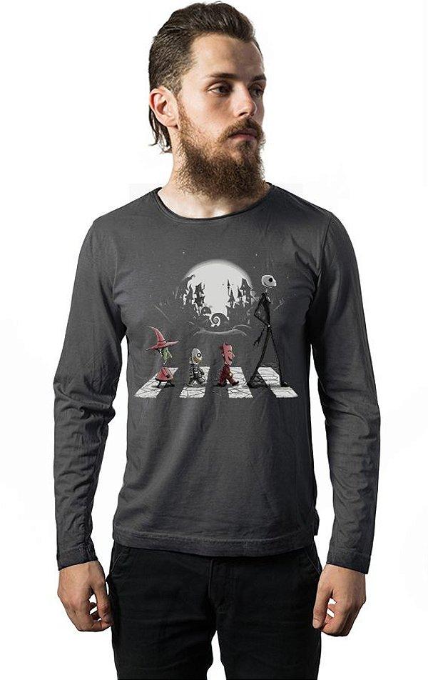 Camiseta Manga Longa Disco Jack Skellington