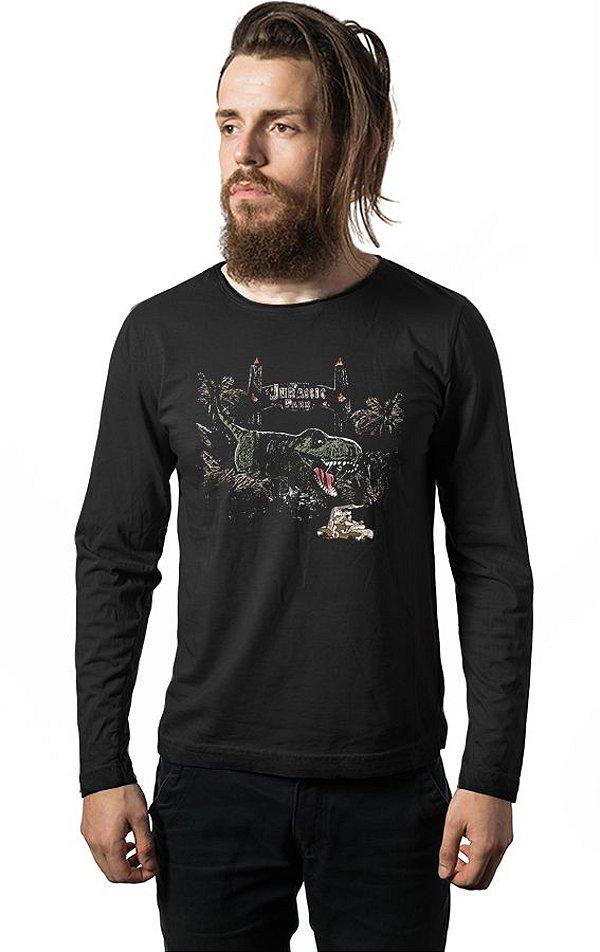 Camiseta Masculina  Manga Longa Jurassic Park - Nerd e Geek - Presentes Criativos