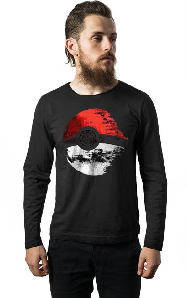 Camiseta Masculina  Manga Longa Pokemon Estrela da Morte - Nerd e Geek - Presentes Criativos