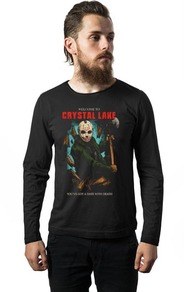 Camiseta Masculina  Manga Longa Jason - Nerd e Geek - Presentes Criativos