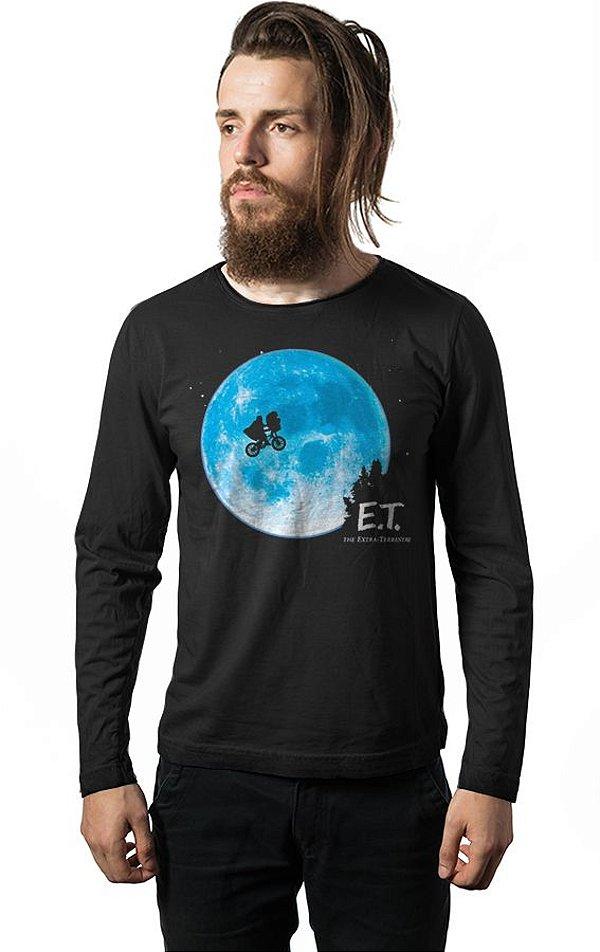 Camiseta Masculina  Manga Longa E.T O Extraterrestre - Nerd e Geek - Presentes Criativos