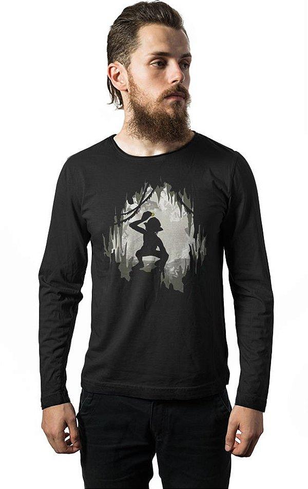 Camiseta Masculina  Manga Longa O Senhor dos Anéis - Nerd e Geek - Presentes Criativos