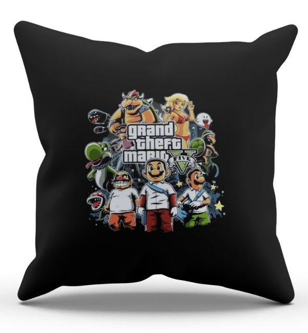 Almofada Decorativa  Grand theft Mario 45x45 - Nerd e Geek - Presentes Criativos