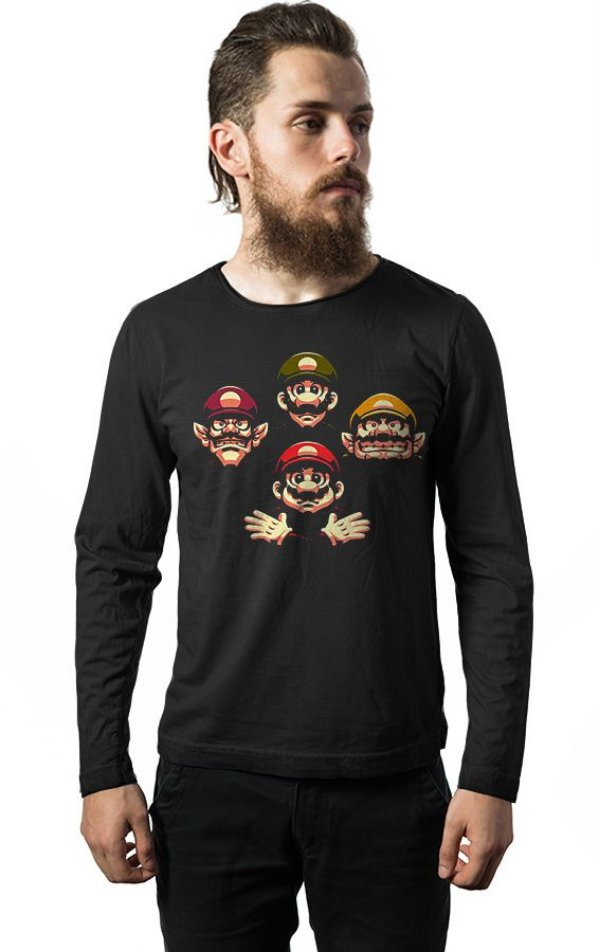 Camiseta Manga Longa Mario e Luigi