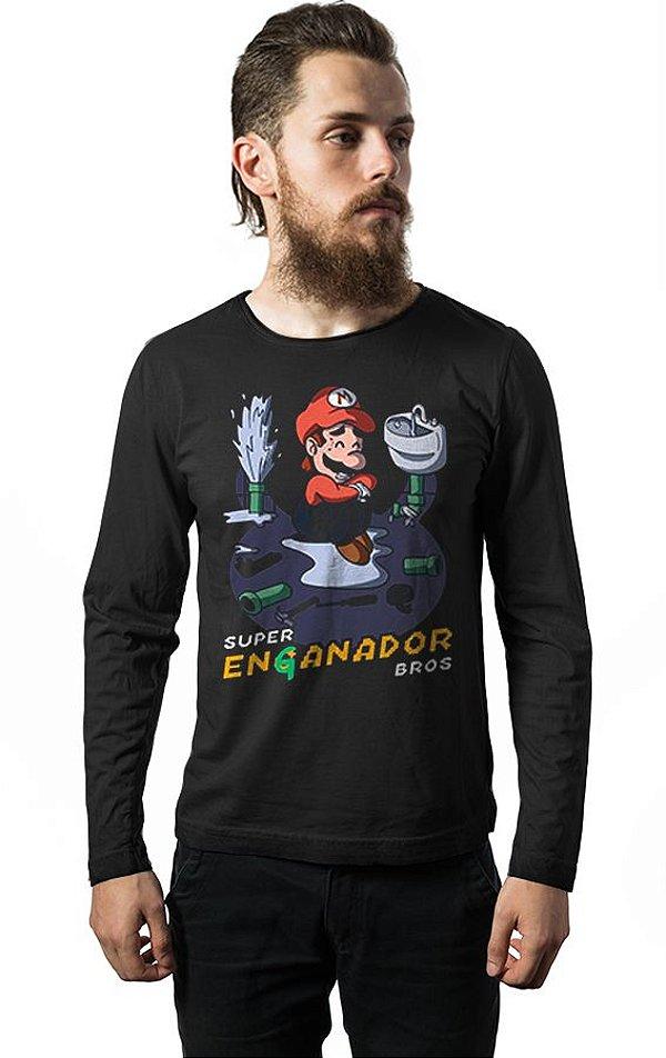 Camiseta Masculina  Manga Longa Super Mario Encanador - Nerd e Geek - Presentes Criativos