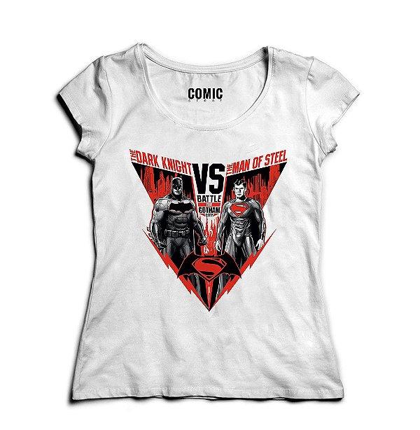 Camiseta Feminina Batman vs Super Man