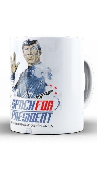 Caneca Spock For President - Nerd e Geek - Presentes Criativos
