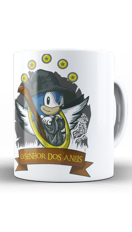 Caneca Sonic  O Senhor dos Aneis - Nerd e Geek - Presentes Criativos