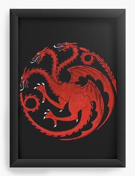 Quadro Decorativo A4 (33X24) Game of Thrones - Dragão - Nerd e Geek - Presentes Criativos