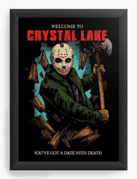 Quadro Decorativo A4 (33X24) Jason Crystal Lake - Nerd e Geek - Presentes Criativos