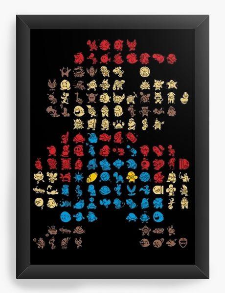 Quadro Decorativo A4 (33X24) Super Mario Bros - Nerd e Geek - Presentes Criativos
