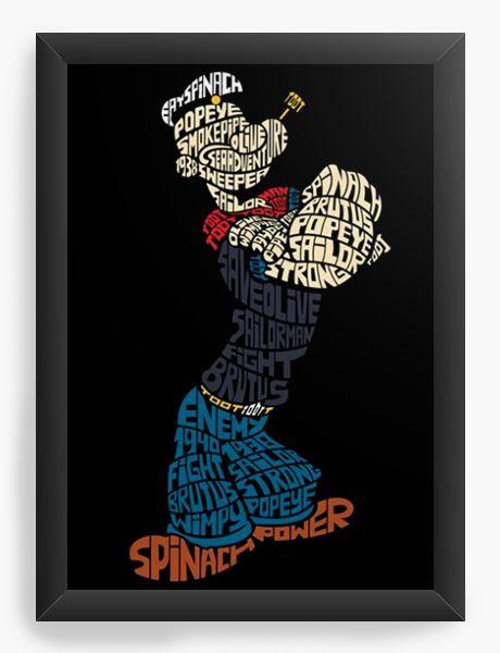 Quadro Decorativo Marinheiro Popeye - Nerd e Geek - Presentes Criativos
