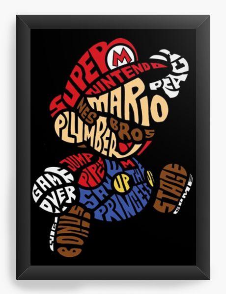 Quadro Decorativo A4 (33X24) Super Mario - Nerd e Geek - Presentes Criativos
