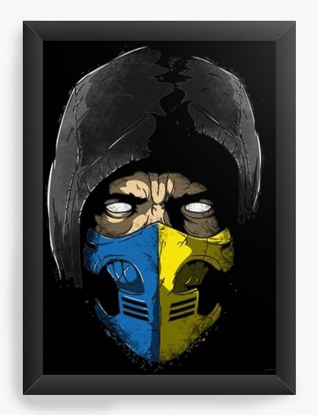 Quadro Decorativo A4 (33X24)  Scorppion Mortal Kombat - Nerd e Geek - Presentes Criativos