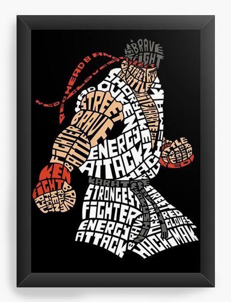 Quadro Decorativo A4 (33X24) Street Fighter - Nerd e Geek - Presentes Criativos