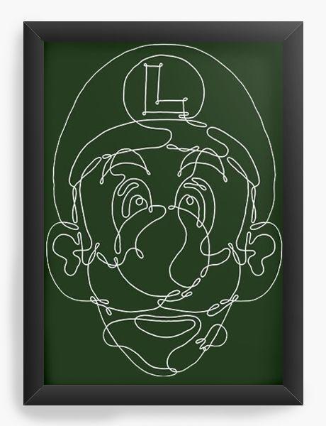 Quadro Decorativo A4 (33X24) Luigi - Nerd e Geek - Presentes Criativos