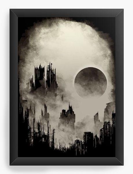 Quadro Decorativo Skull City - Nerd e Geek - Presentes Criativos
