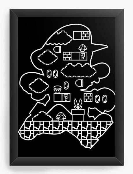 Quadro Decorativo A4 (33X24) Super Mario - Fase - Nerd e Geek - Presentes Criativos