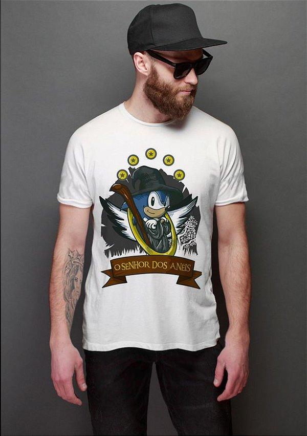 Camiseta Masculina  Sonic O Senhor dos Aneis - Nerd e Geek - Presentes Criativos