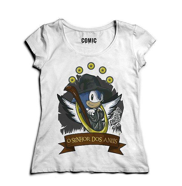 Camiseta Feminina Sonic O Senhor dos Aneis - Nerd e Geek - Presentes Criativos