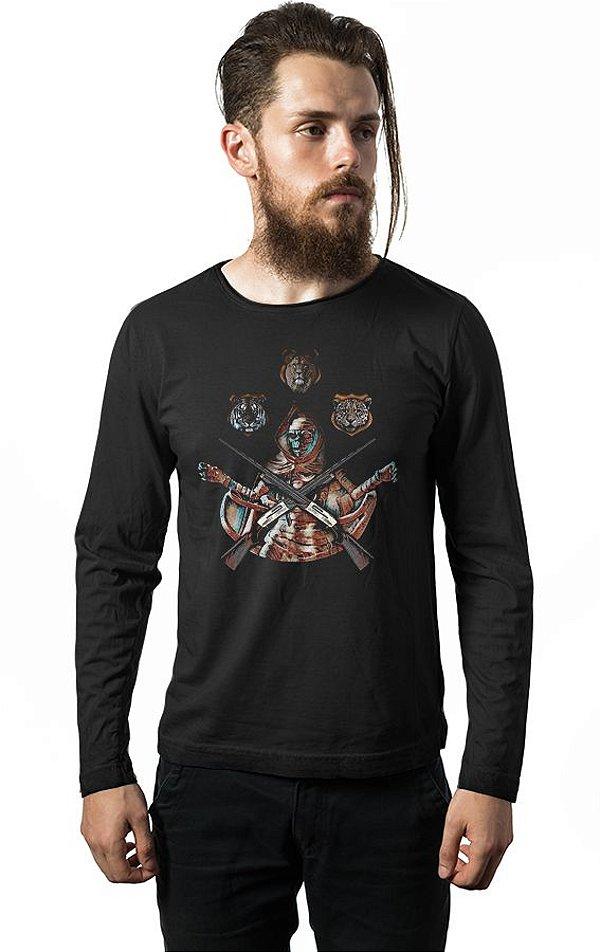 Camiseta Masculina  Manga Longa Skull - Nerd e Geek - Presentes Criativos
