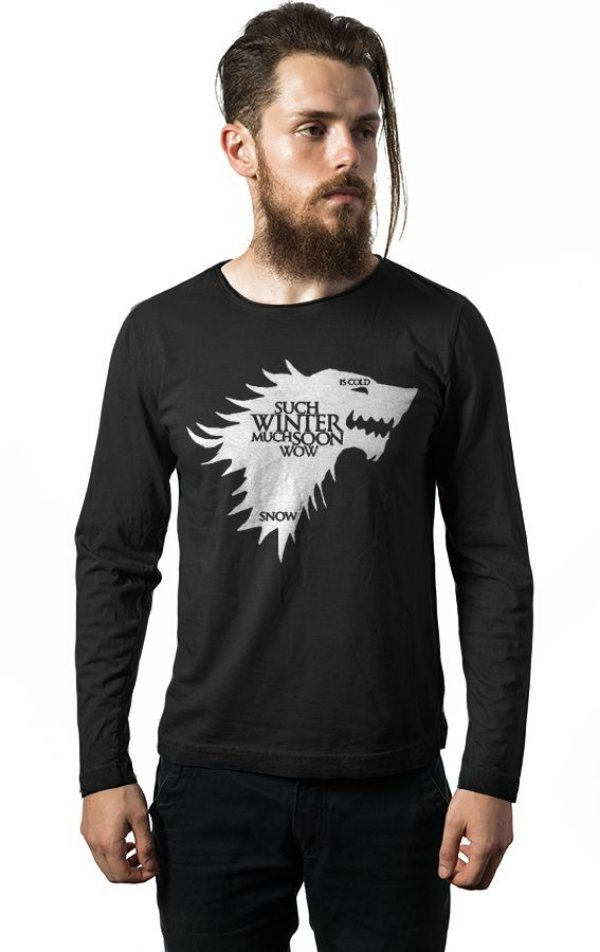 Camiseta Masculina  Manga Longa Game of Thrones - Nerd e Geek - Presentes Criativos