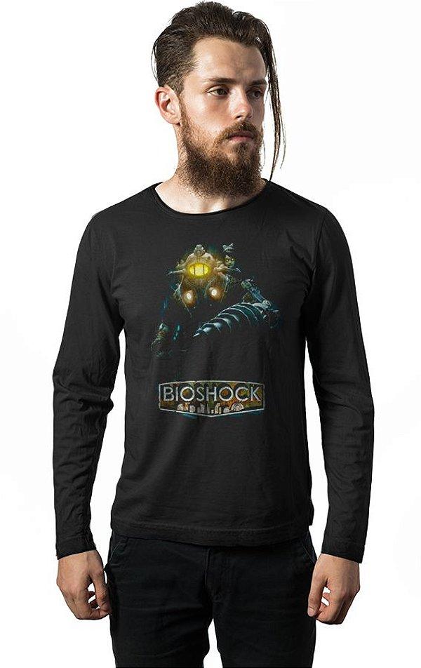 Camiseta Masculina  Manga Longa Bioshock - Nerd e Geek - Presentes Criativos