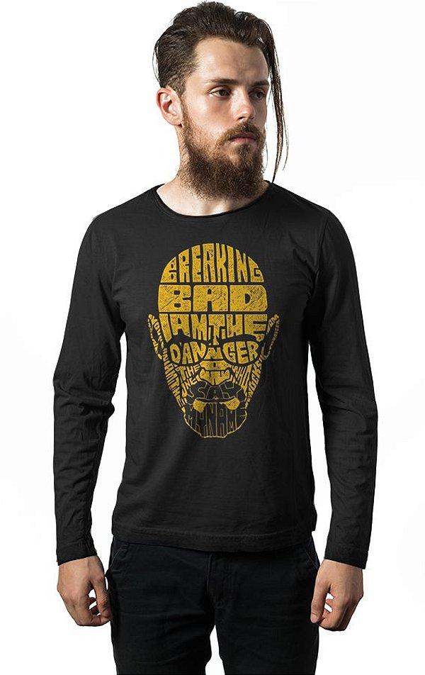 Camiseta Masculina  Manga Longa Breaking Bad - Heisenberg - Nerd e Geek - Presentes Criativos