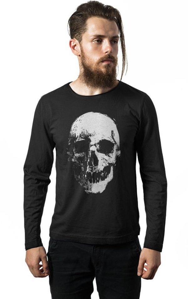 Camiseta Manga Longa Caveira Dark