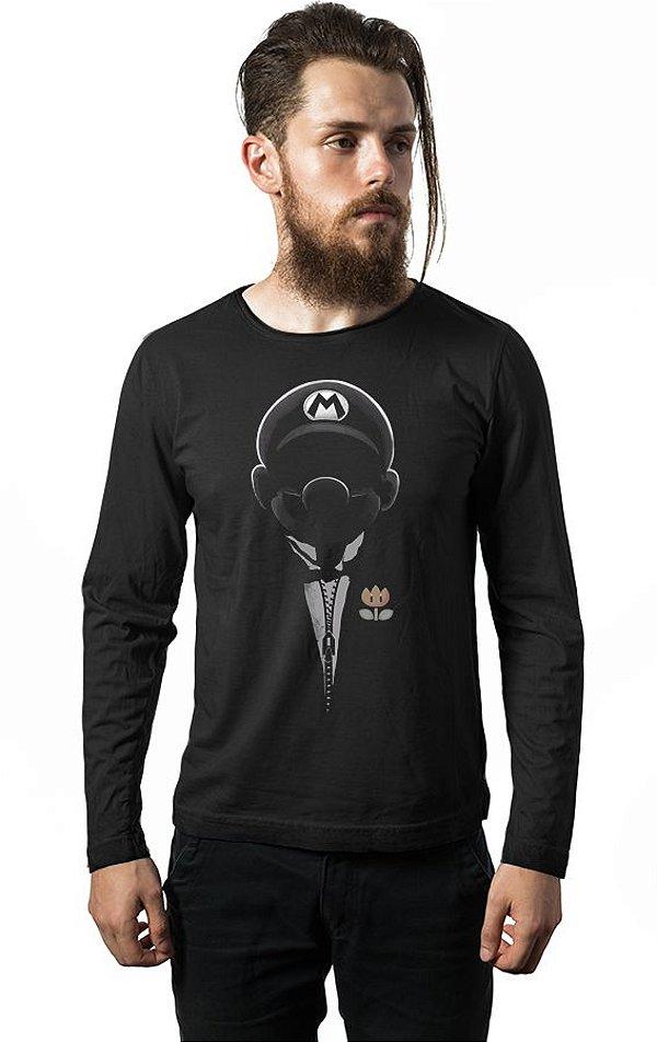 Camiseta Masculina  Manga Longa Super Mario Dark - Nerd e Geek - Presentes Criativos