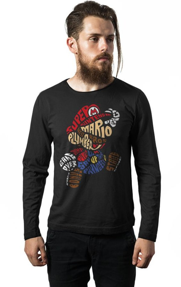 Camiseta Masculina  Manga Longa Super Mario Bros - Nerd e Geek - Presentes Criativos