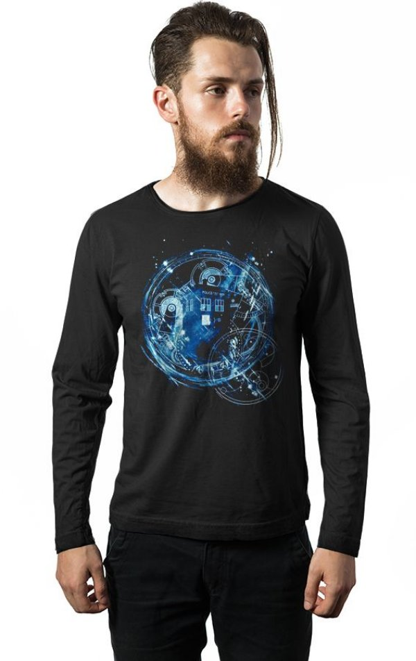 Camiseta Masculina  Manga Longa Doctor Who - Nerd e Geek - Presentes Criativos