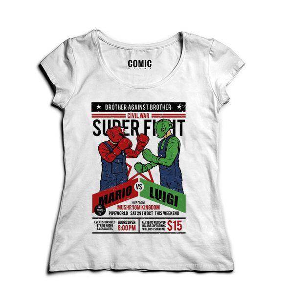 Camiseta Feminina Super Mario vs Luigi