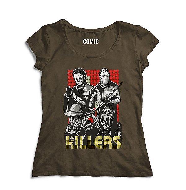 Camiseta Feminina Killers - Panico - Nerd e Geek - Presentes Criativos
