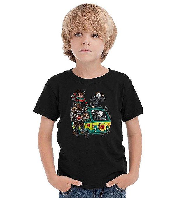 Camiseta Infantil Jason e Freddy - Massacre - Nerd e Geek - Presentes Criativos