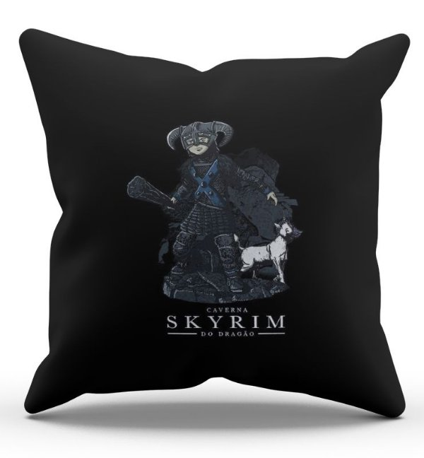 Almofada Decorativa  Skyrim Caverna do Dragão Z 45x45 - Nerd e Geek - Presentes Criativos
